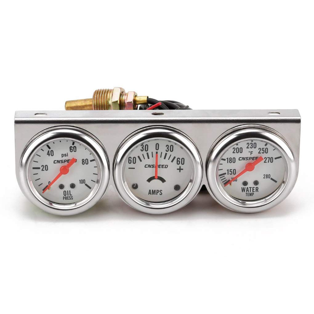 Republe Automobile Oil Pressure/Water Temperature/Current 3-in-in1 Instrument Meter 52mm White Panel