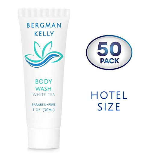 BERGMAN KELLY Travel Size Body Wash (1 Fl Oz, 50 PK, White Tea), Delight Your Guests with a Revitalizing and Refreshing Hotel Body Wash, Quality Mini and Small Size Guest Hotel Toiletries in Bulk