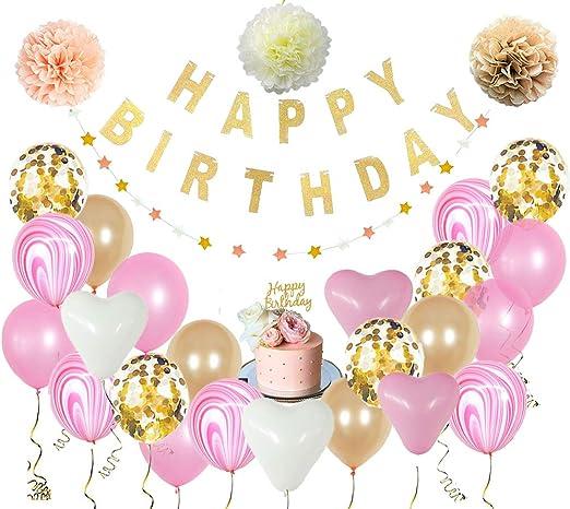 30 Piezas Kit Set de Globos Champán Y Rosa Guirnaldas para cumpleaños | Letrero Happy Birthday Globos Metálicos Globos de Latex con Confeti