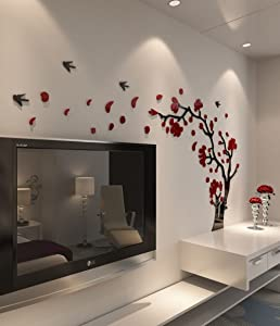 DecorSmart Plastic Trees and Birds 3D Wall Decals, 3110 (Red/Black)