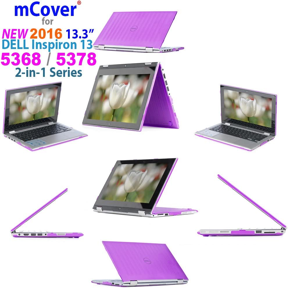 """mCover Purple Hard Shell Case ONLY for 13.3"""" Dell Inspiron 13 5000 (5368/5378 /5379) Series 2-in-1 Laptop(5368/5378/539)"""