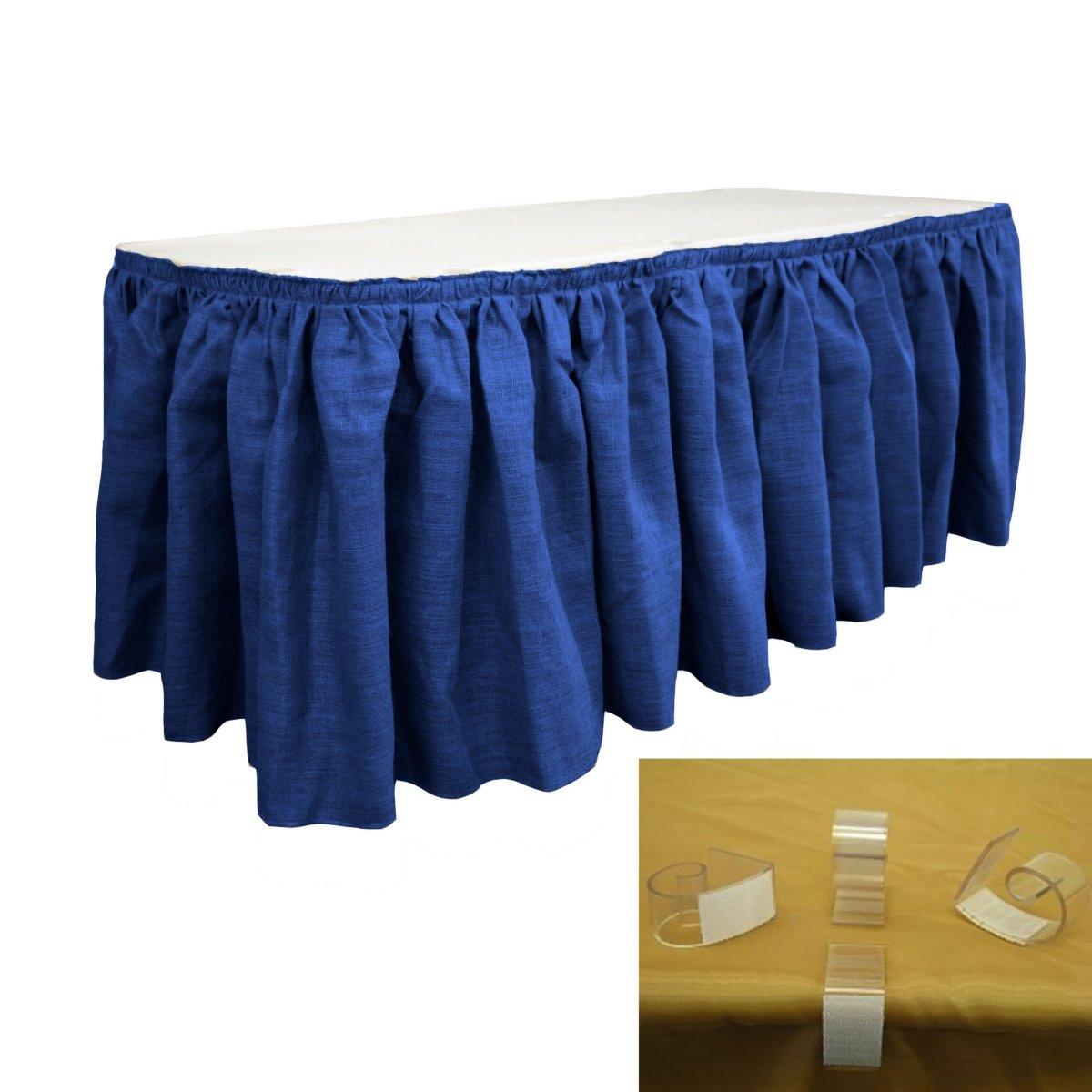 LA Linen SkirtBurlap14x29-10Lclips-BlueRoyal Burlap Table Skirt with 10 L-Clips44; Royal Blue - 14 ft. x 29 in. by LA Linen (Image #1)