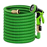 Caferria Garden Hose Expandable Water Hose 50ft Lightweight 3/4' Solid Brass Fittings Extra Strength Fabric Triple Latex Core Flexible Hose with 9 Mode Spray Nozzle for Lawn Plants Car Washing (Green)