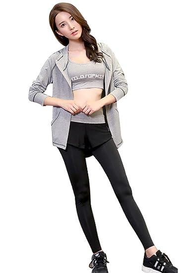 Femme Sport Ensemble Yoga 3 pièces Sweat Veste Capuche zippée Soutien Gorge  Crop Top et Pantalon Legging Fitness Survêtement Gym Tenue Hiver Casual ... 6b1a583c8e6