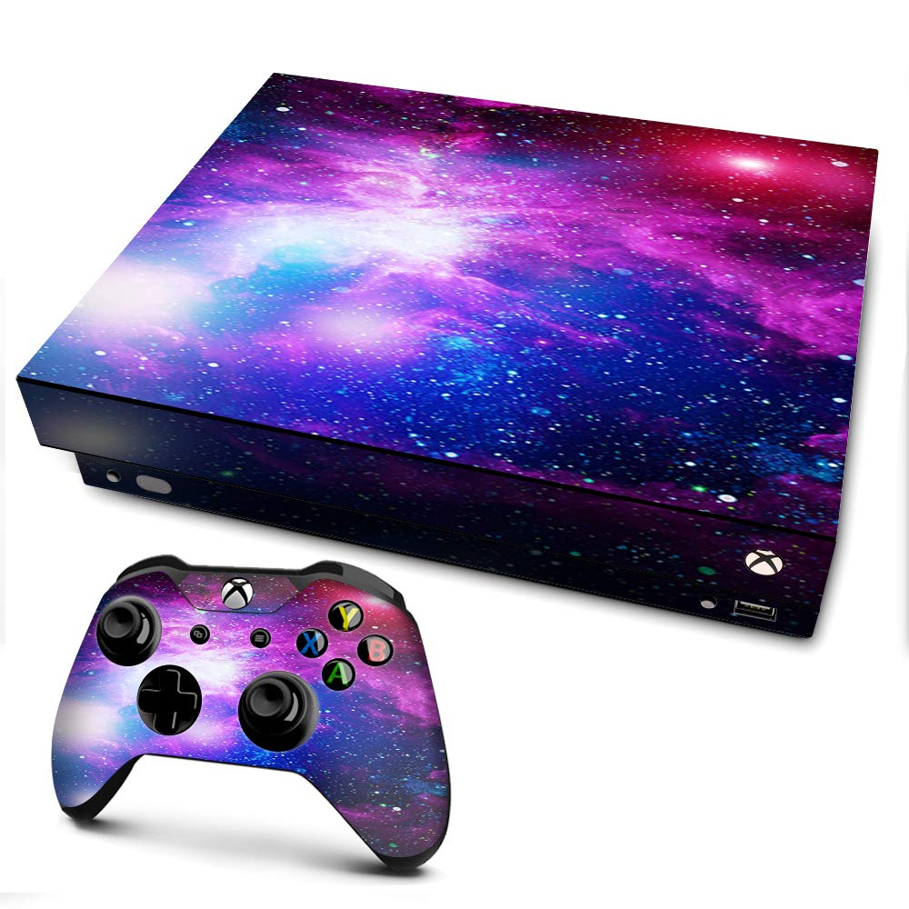 Amazon Com It S A Skin Xbox One X Console Controller Decal Vinyl Wrap Stars Galaxy Red Blue Purple Gasses Video Games