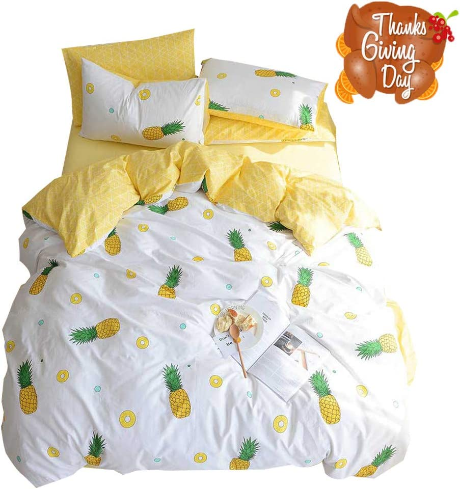 OTOB Fruit Pineapple Printed 100% Cotton Luxury Soft Bedding Set Kids Bedding Duvet Cover Pillowcases Best Bedding for Kids Queen Size, No Comforter