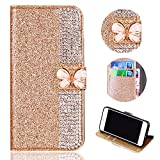 Glitter Leather Wallet Case for Samsung Galaxy J3 2018,Shinyzone Luxury Diamond Sparkle 3D Butterfly Magnetic Buckle Women Series Design Cover for Samsung Galaxy J3 2018,Golden