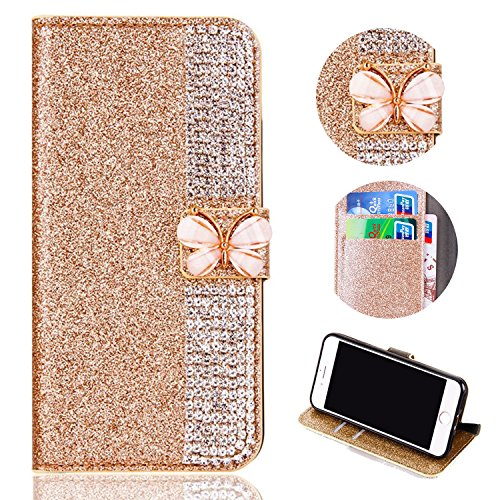 Glitter Leather Wallet Case for Samsung Galaxy J3 2018,Shinyzone Luxury Diamond Sparkle 3D Butterfly Magnetic Buckle Women Series Design Cover for Samsung Galaxy J3 2018,Golden by Shinyzone