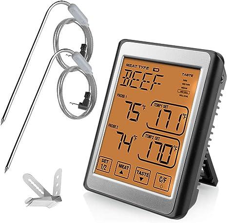 Ikalula Fleischthermometer Digitales Grill Thermometer Bratenthermometer Ofenthermometer Mit 2 Sonden Küchenthermometer Barbecue Smoker Grillthermometer Mit Lcd Display Thermometer 8 Fleischwahlen Küche Haushalt