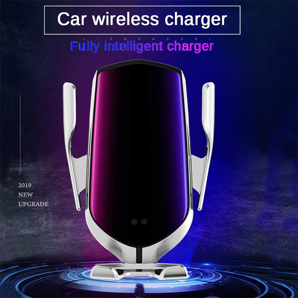Wireless Car Charger,Automatic Clamping IR Wireless Car Charger Mount Fast Charging for Phone,Intelligent GPS Positioning (Free, Silver)