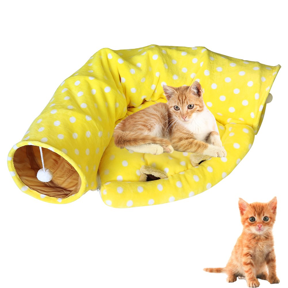 AUOON Cat Tunnel with Half Moon Shape Mat for Cat Dog, Length 51'' Diameter 9'', Yellow