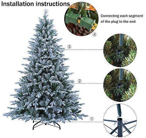ABUSA Flocked Prelit Artificial Christmas Tree 7.5 ft Snowy Spruce with 700 LED Clear Lights 1452 Branch Tips by ABUSA (Image #3)
