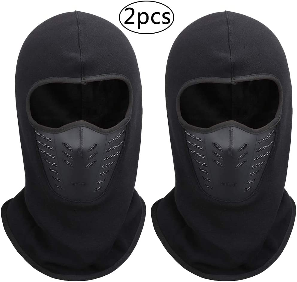BESTZY 2PCS Balaclava Full Face Mask Black Windproof Ski Face Mask for Cold Weather with Breathable Mesh Silicone Panel for Skiing,Cycling,Snowboarding