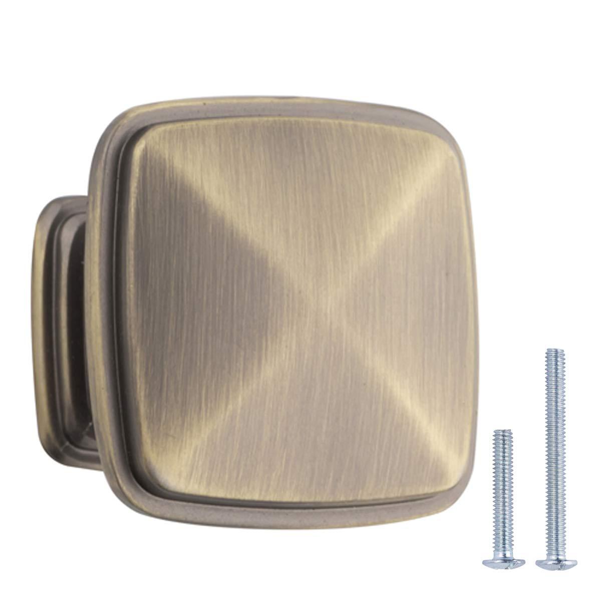 "AmazonBasics AB400-AB-25 Cabinet Knob, 1.25"" Diameter, Antique Brass"