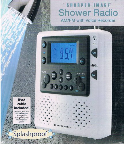 Delightful The Sharper Image AM/FM Shower Radio With Voice Recorder