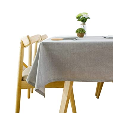 Bringsine Solid Cotton Linen Tablecloth Stain Resistant/Spill-proof/Waterproof Lace Table Cover Kitchen Dinning Tabletop Decoration (Rectangle/Oblong, 53  x 71 , Gray)