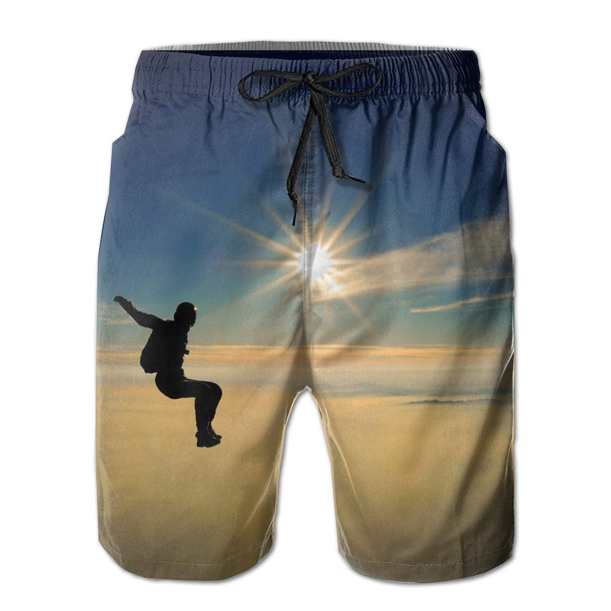 Skydiving Summer Holiday Mesh Lining Swimwear Board Shorts with Pockets Hateone Mens Beach Shorts Quick Dry