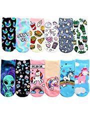 SherryDC Women's Photo Print Crazy No Show Ankle Socks Pack