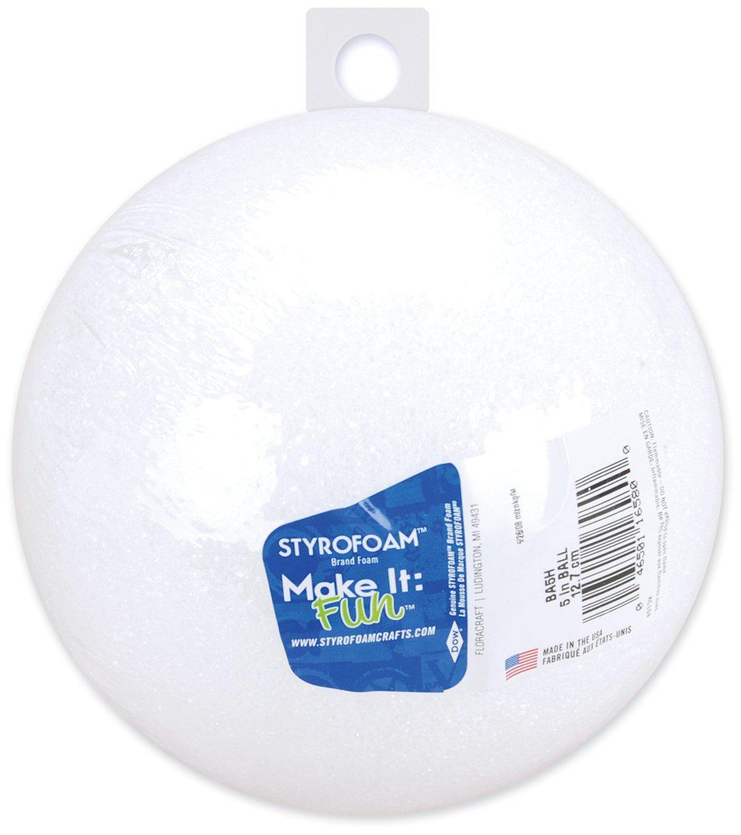 Floracraft Styrofoam Ball, 5-Inch, White, 1-Pack