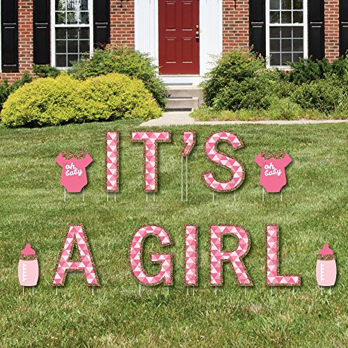 Big Dot of Happiness It's A Girl - Yard Sign Outdoor Lawn Decorations - Girl Baby Shower and Baby Announcement Yard Signs -