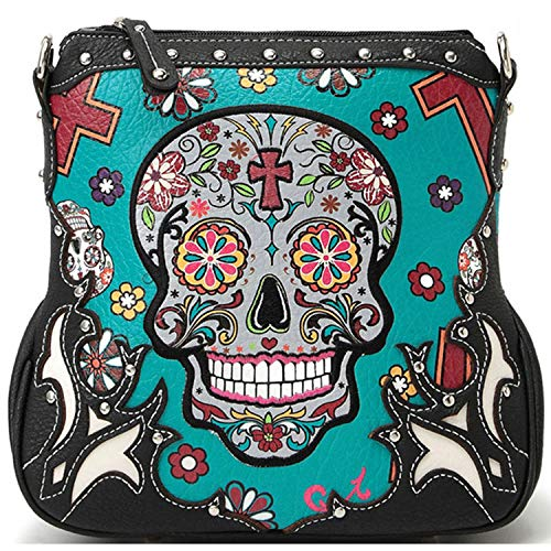 Sugar Skull Messenger Sling Bag Day of the Dead Purse with Concealed Carry Pocket, Teal