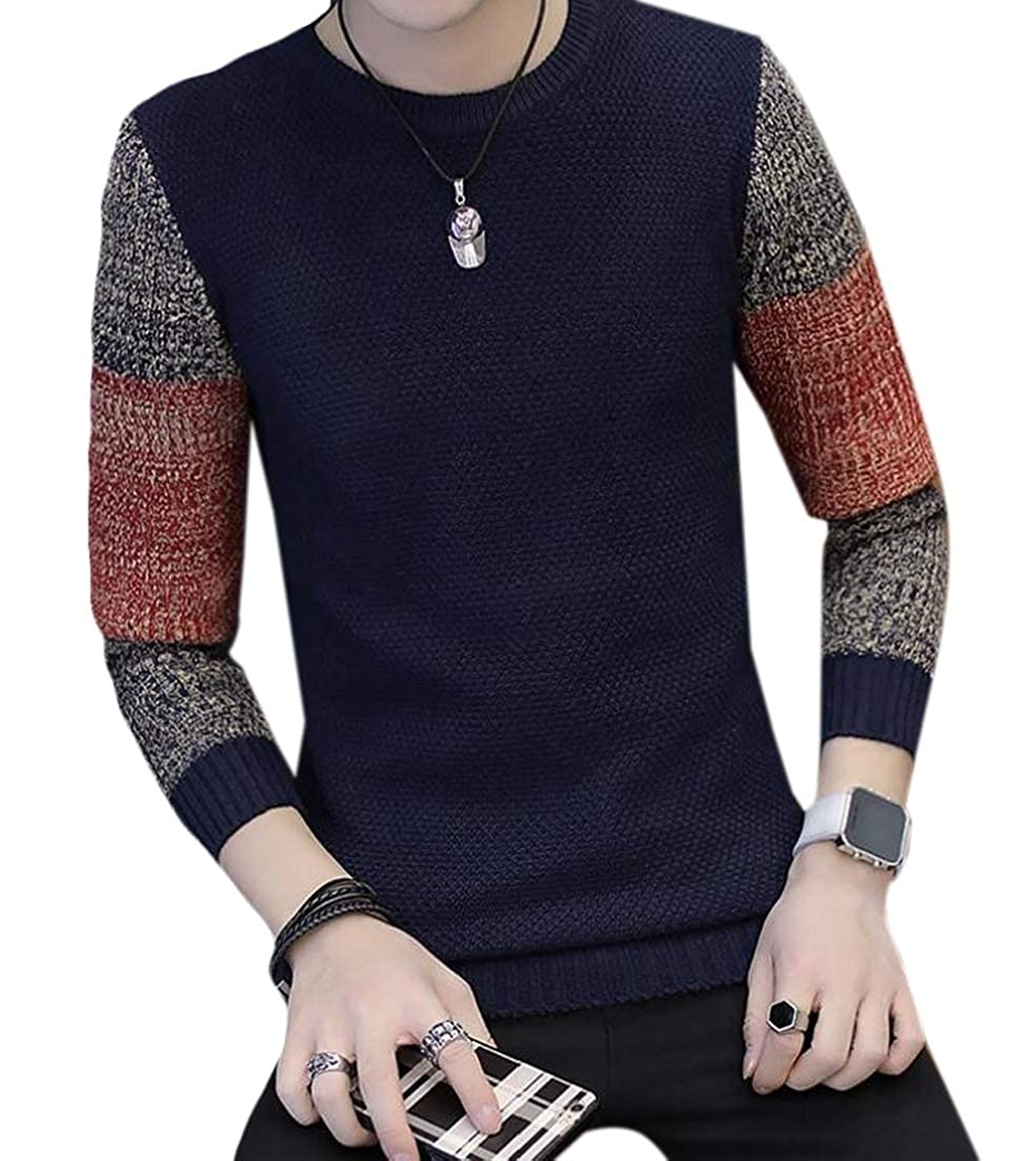 CRYYU Men Plus Size Slim Fit Long Sleeve Color Contrast O Neck Jersey Sweater