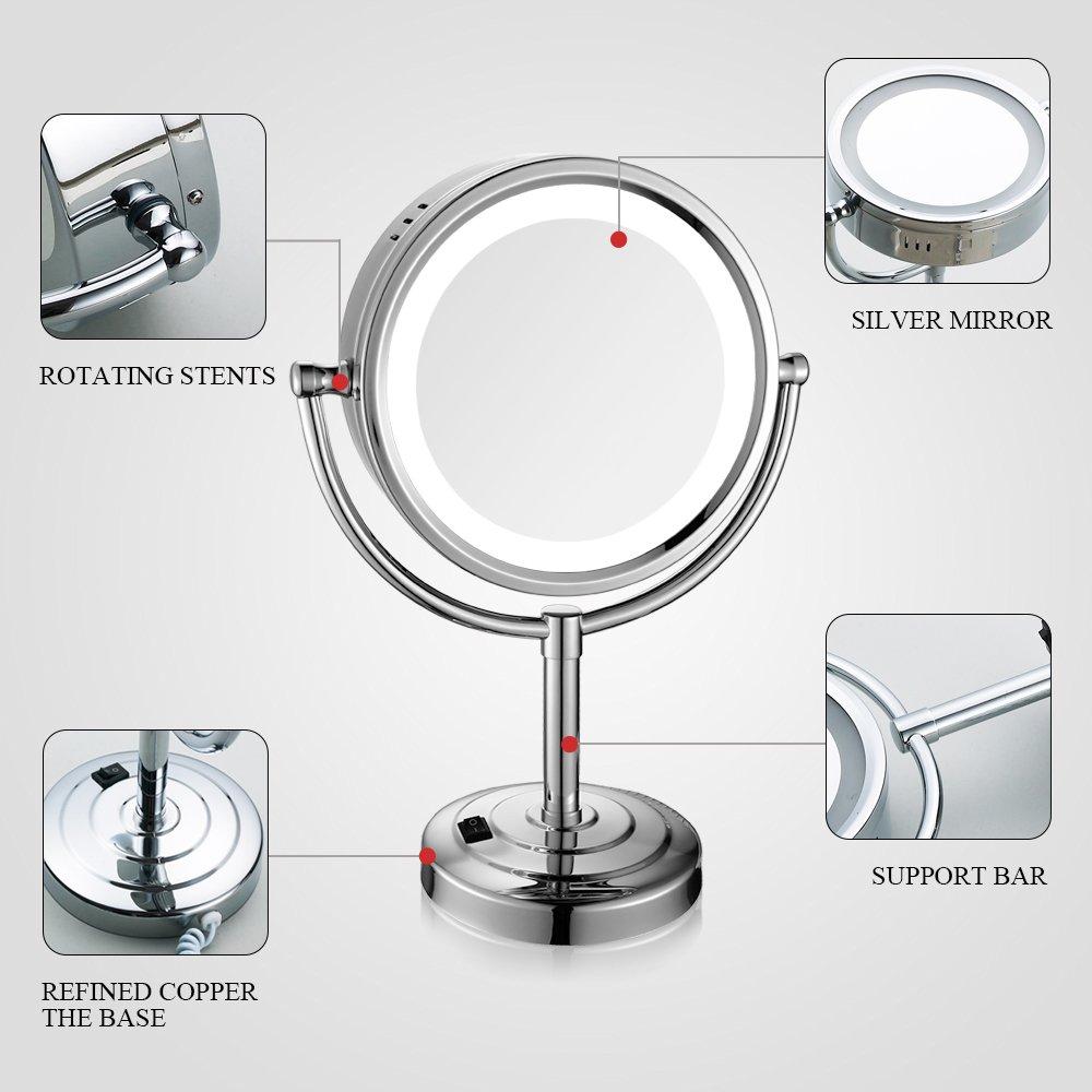 Gurun 8 5 Pouces Miroir Grossissant X10 Lumineux Led Avec Support
