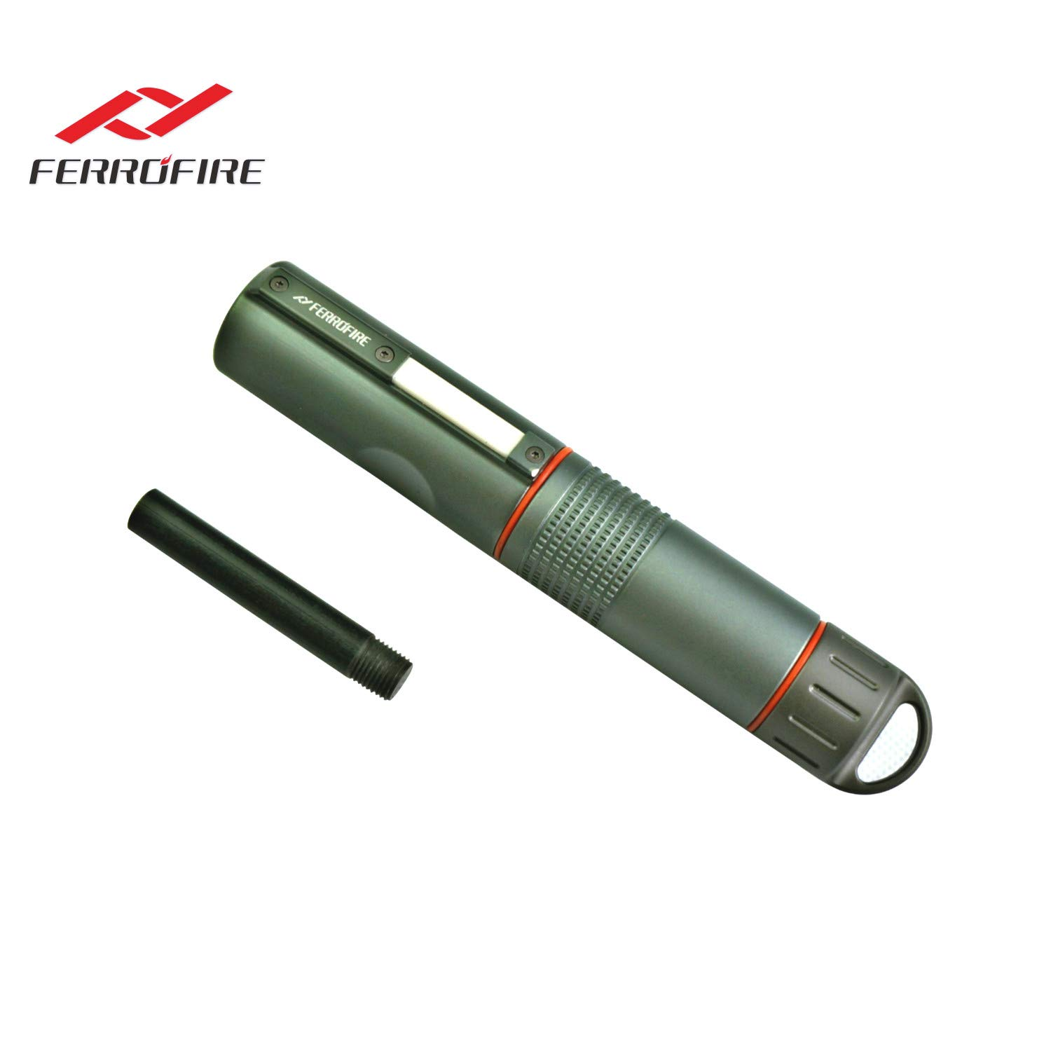 FERROFIRE Fire Starter XXL (S10E1) 2/5 inch diameter replaceable ferro rod + 1 standby rod, compact package. Truly for All Weathers and A Lifetime of Use, Waterproof Capsule, Built-in Striker, Compass by FERROFIRE