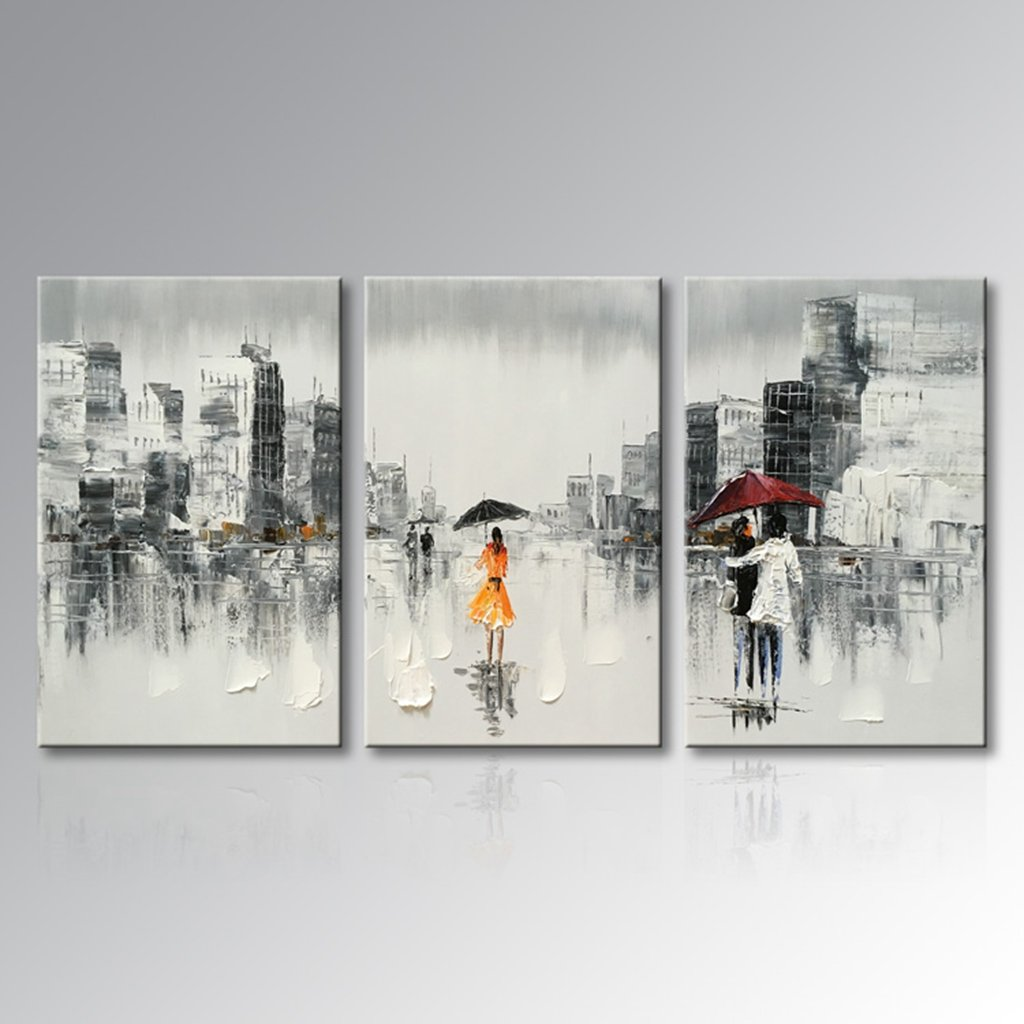 Everfun Art Hand Painted Abstract Decorative Artwork Modern Cityscape Oil Painting on Canvas Wall Art Framed Ready to Hang for Home Decoration (60''W x 30''H (20''x 30'' x 3 pcs)) by Everfunart