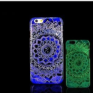 For iPhone 7 Plus Case, Glow in the Dark Aztec Flower Mandala Datura Stramonium Pattern TomCase Fluorescent Back Cover for iPhone 7 Plus Case 5.5 inch, P11