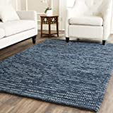 Safavieh Bohemian Collection BOH525G Hand-Knotted Dark Blue and Multi Jute Area Rug, 6-Feet by 9-Feet