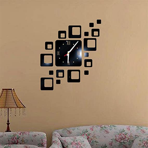 Amazon.com: TIFENNY Acrylic Mirror DIY Wall Sticker Clock, Living Room Bedroom Modern Watch Decor Wall-mounted Vinyl Wall Sticker (Black): Home & Kitchen