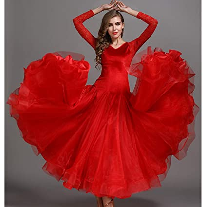 Autumn Winter Classic Dance Dress Red Velvet Splicing Organza Latin Belly Dance Costume Long Sleeves Tango