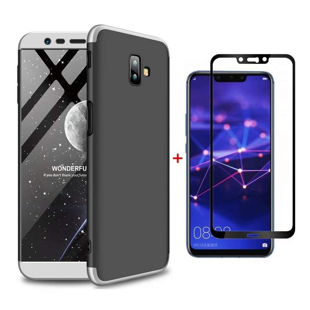 Coque Samsung Galaxy J6 Plus Ttimao PC É tui Rigide [Protecteur D'é cran en Verre Trempé ] Anti Scratch Antichoc Ultra-Mince 360 Degré s Full-Cover Case Triple-en-Un Housse de Protection (Argent Noir)