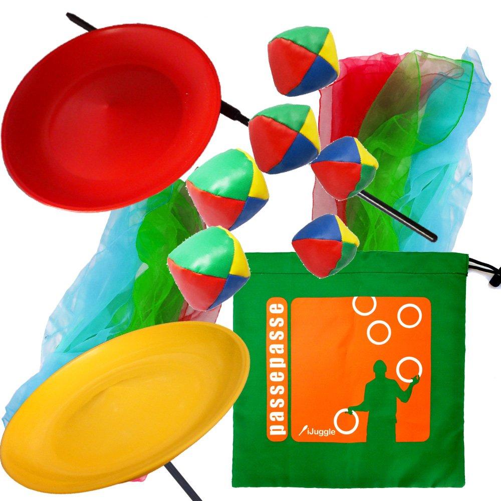 Kit giocoleria due piatti con bastoni di plastica, sciarpe giocoleria 6 e 2 set di 3 palle giocoleria con una custodia in nylon rotante. colori casuali PassePasse
