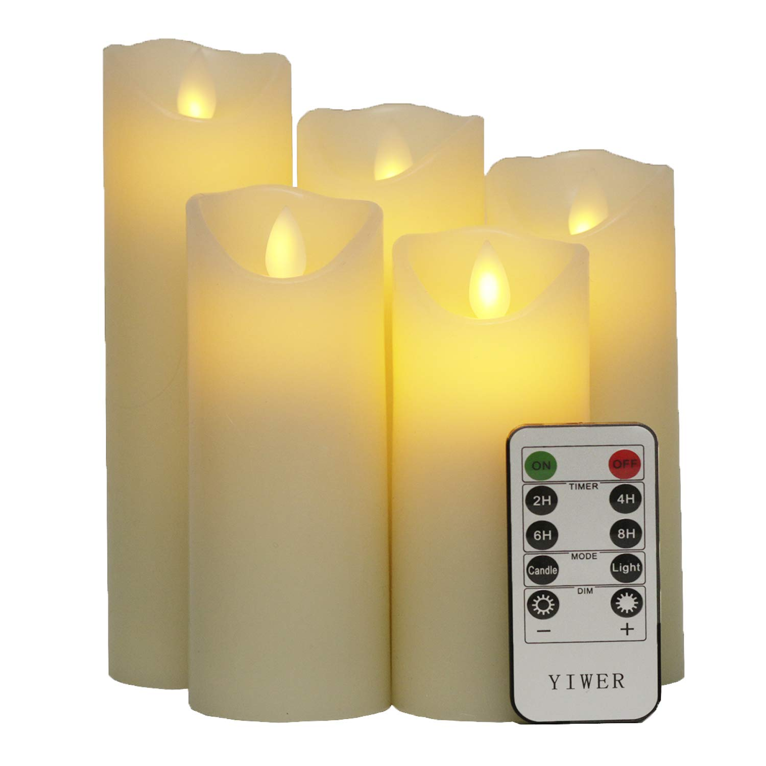 Flameless Candles, 5'' 6'' 7'' 8'' 9'' Set of 5 Real Wax Not Plastic Pillars Include Realistic Dancing LED Flames and 10-key Remote Control with 2/4/6/8-hours Timer Function,300+ Hours -YIWER (5x1, Ivory)