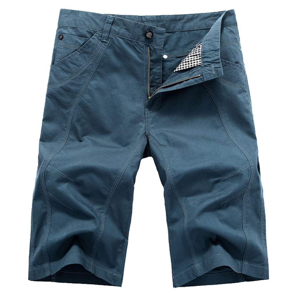 Easytoy Shorts for Men, Men's Casual Classic-Fit Cargo Chino Short Lightweight Oxford Shorts (Blue, US:29)