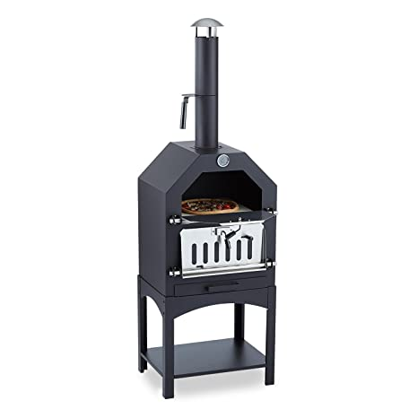 Klarstein Pizzaiolo - Horno para Pizza, Parrilla, Ahumador, Asar, Hornear, Termómetro, Piedra Hornear, Apertura ventilación, Ventilador, Bandeja ...
