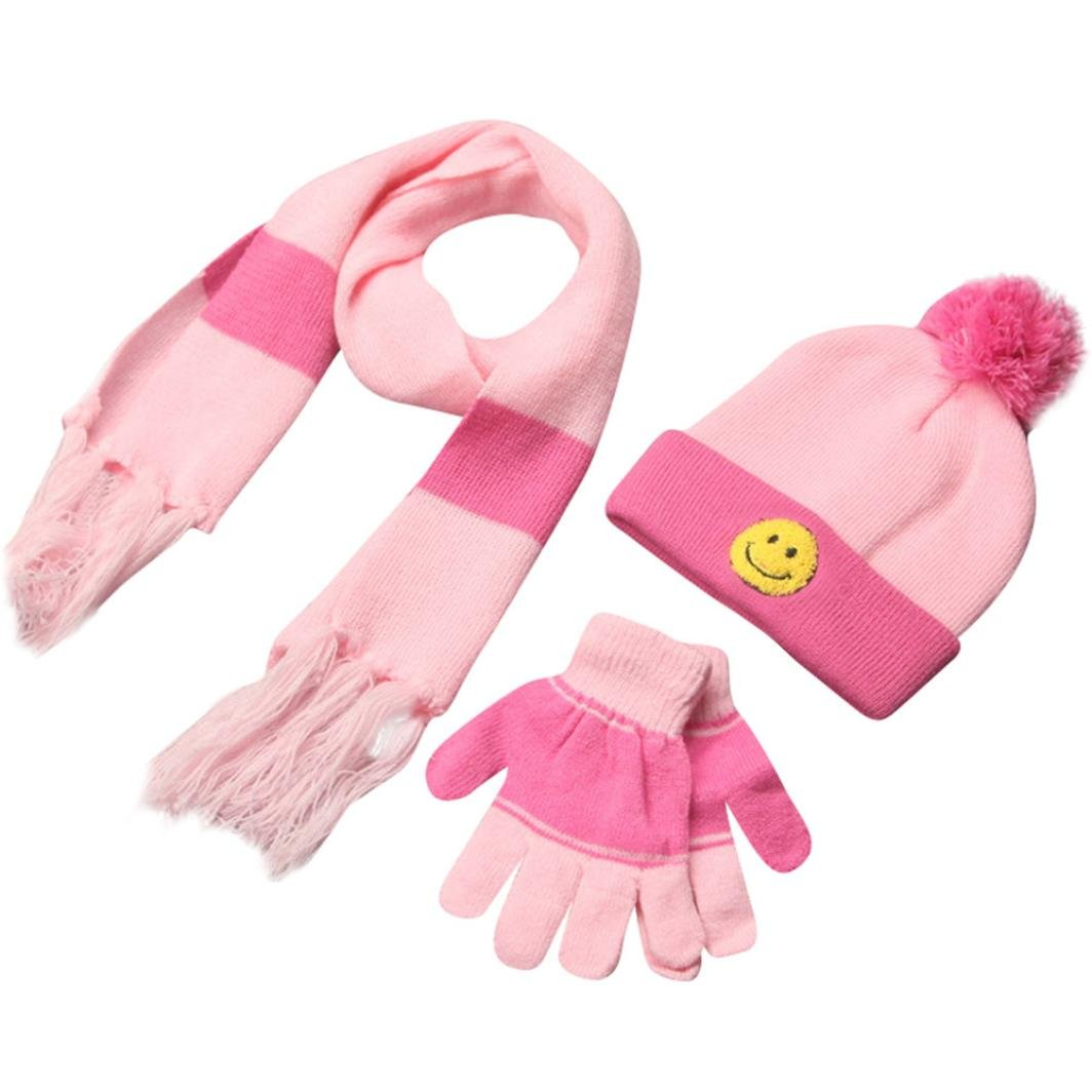 ChainSee Baby Boys Girls 3 Piece Warm Winter Set Wool Smile Scarves, Hat& Gloves Hat&Gloves (Pink) Fashion Cool Cute