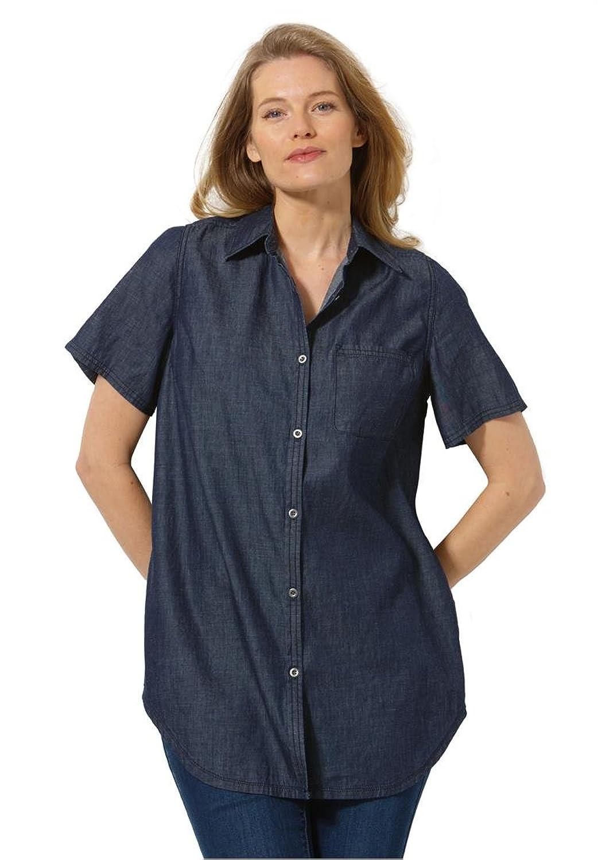 Women's Plus Size High-Low Denim Shirt at Amazon Women's Clothing ...