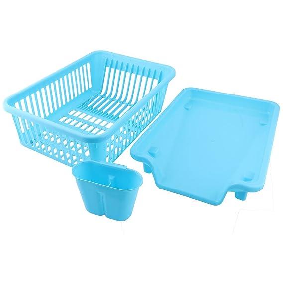 Amazon.com: Placa de cocina de plástico eDealMax Escurridor de cubiertos lateral Salida de agua en rack Organizador Set Blue: Kitchen & Dining