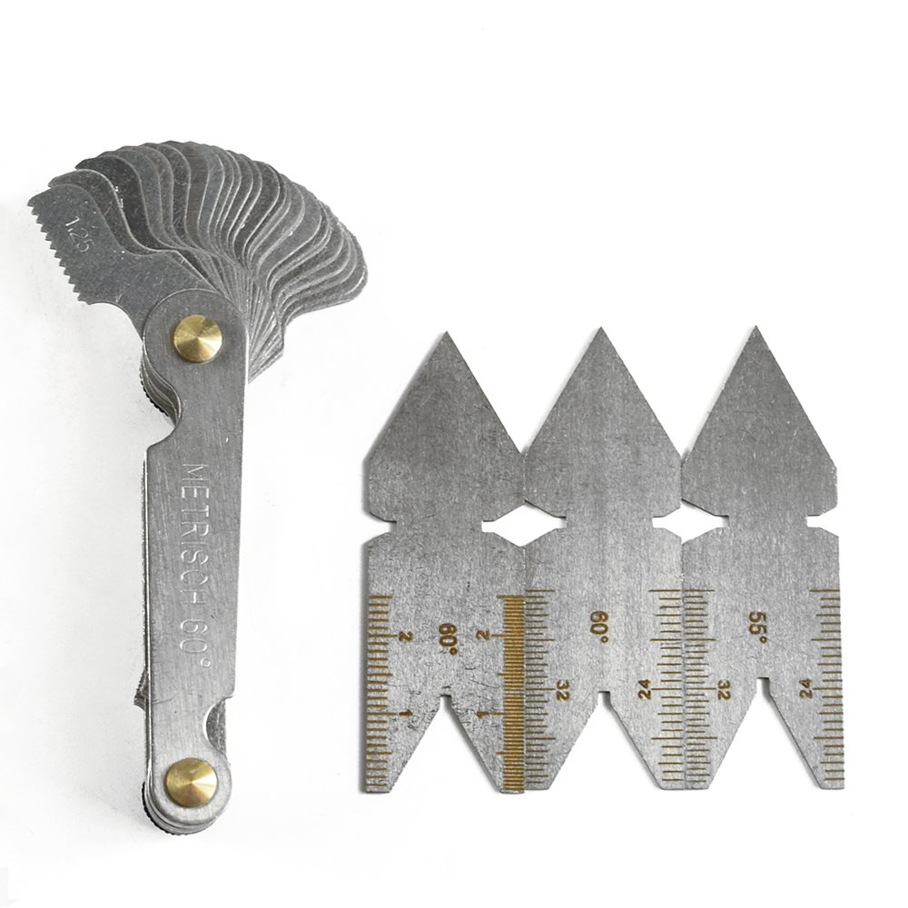 4Pcs Screw Thread Pitch Cutting Gauge Tool Set Centre Gage 55/° Inch System /& 60/° Metric System