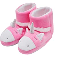 Mixin Cute Unicorn Plush Comfy Anti Slip House Shoes for Toddler (Pink)
