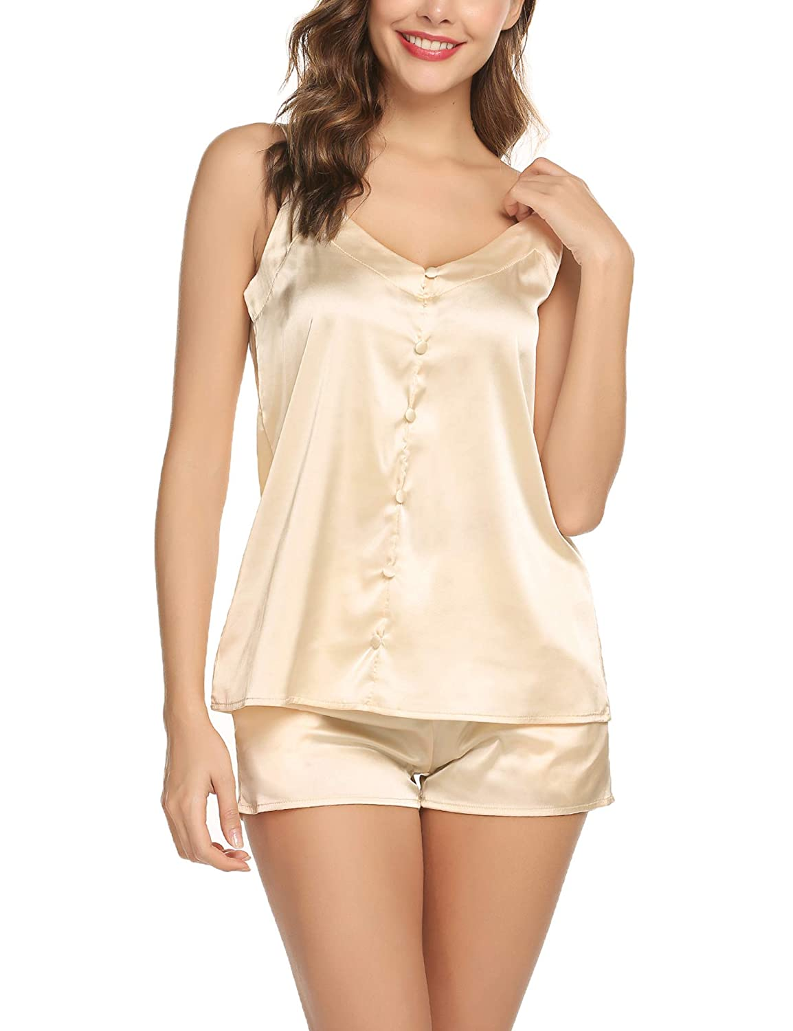 Womens Short Satin Pajamas Set Sexy Camisole Sets Silk Lingerie Sleepwear  at Amazon Women s Clothing store  95a6247a9ac0