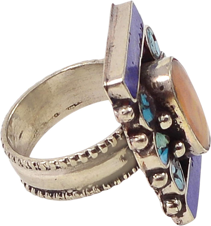 Silvestoo Jaipur Lapis Lazuli /& Turquoise Gemstone 925 Silver Plated Ring Sz 9 PG-117766