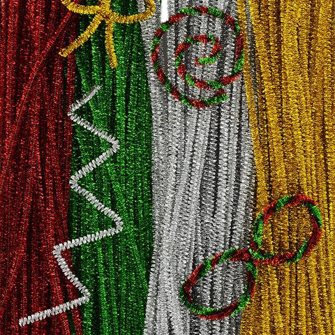 Crafter's Square Chrsitmas Color Tinsel Stems, Pack of 4, Red, Green, Silver and Gold (180 Stems)