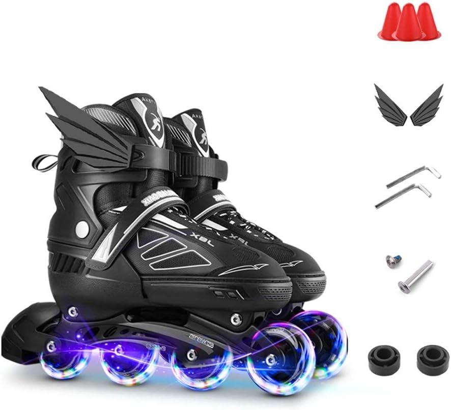 ZHANGHAIMING 調整可能な屋外の子供インラインスケート、照らす車輪男の子女の子ローラーブレード、成人初心者ユースインラインローラースケート、黒、青、ピンク (Color : 黒, Size : S(EU31-34)) 黒 S(EU31-34)