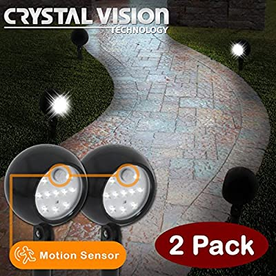 Crystal Vision Weatherproof Wireless Battery Powered Pathway LED Landscape Light Ultra Bright Spotlight with Motion Sensor 2 pack