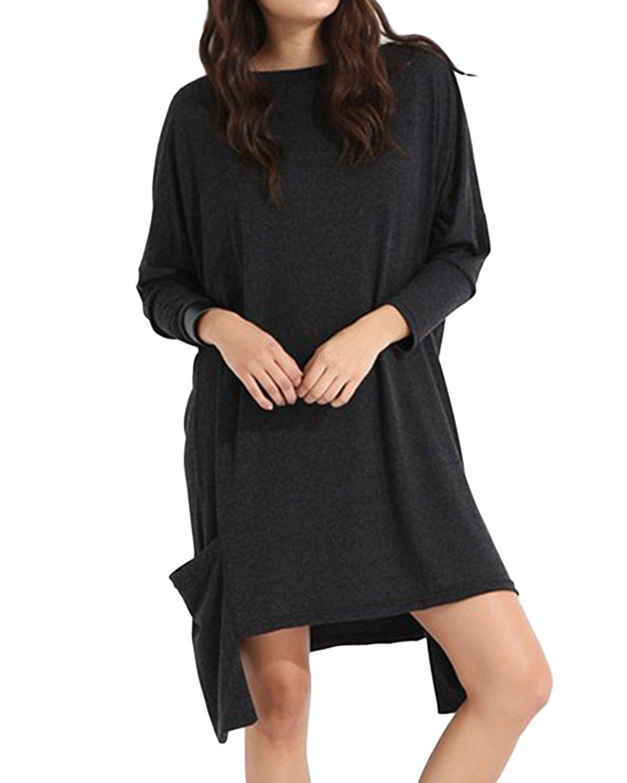 Jacansi Women Sweatshirt Long Sleeve Crewneck Kaftan Casual Loose Dress Dark Gray M