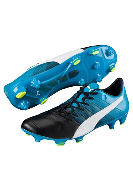 8a9d3aa2797d Puma Evopower 1.3 Leather FG Football Boots - Black White Blue - Size 7